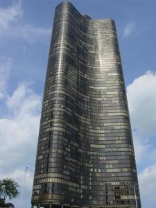 Sunlight reflecting from glass curtain wall of Lake Point Tower