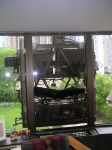 Window washing machine from inside Lake Point Tower