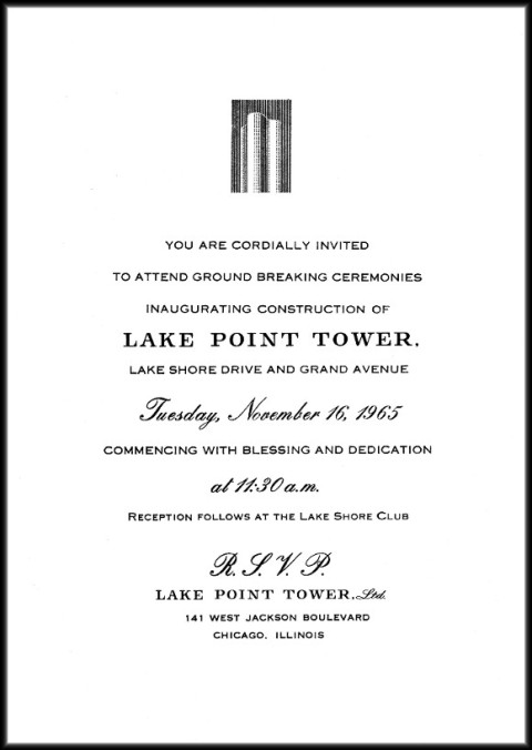 Invitation to the Groundbreaking of Lake Point Tower