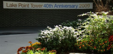 40th Anniversary sign in Lake Point Tower Rotunda