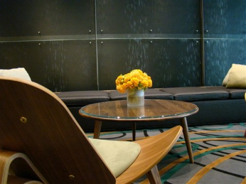 closeup of flowers in Lake Point Tower reception area